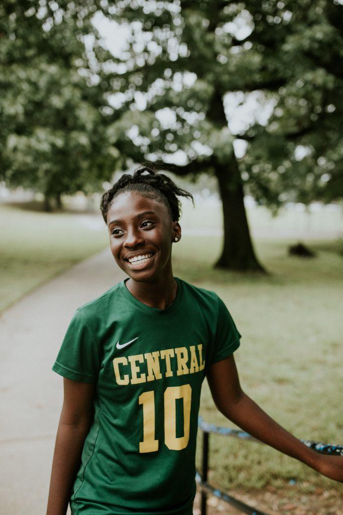 Refugee student Emily enjoys sports.