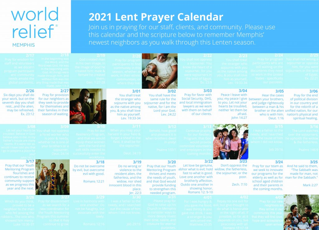 Prayer requests in calendar format