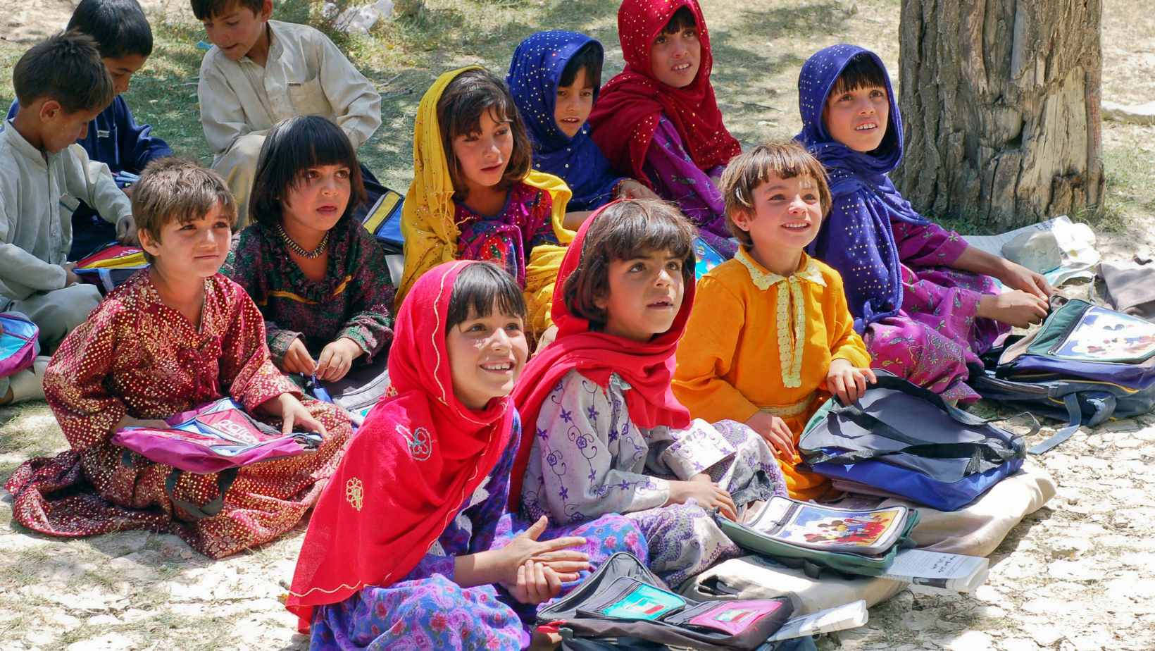 Girls wait eagerly for class