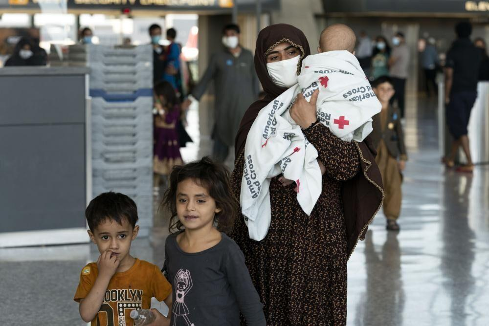 Afghan refugees in a U.S. airport.