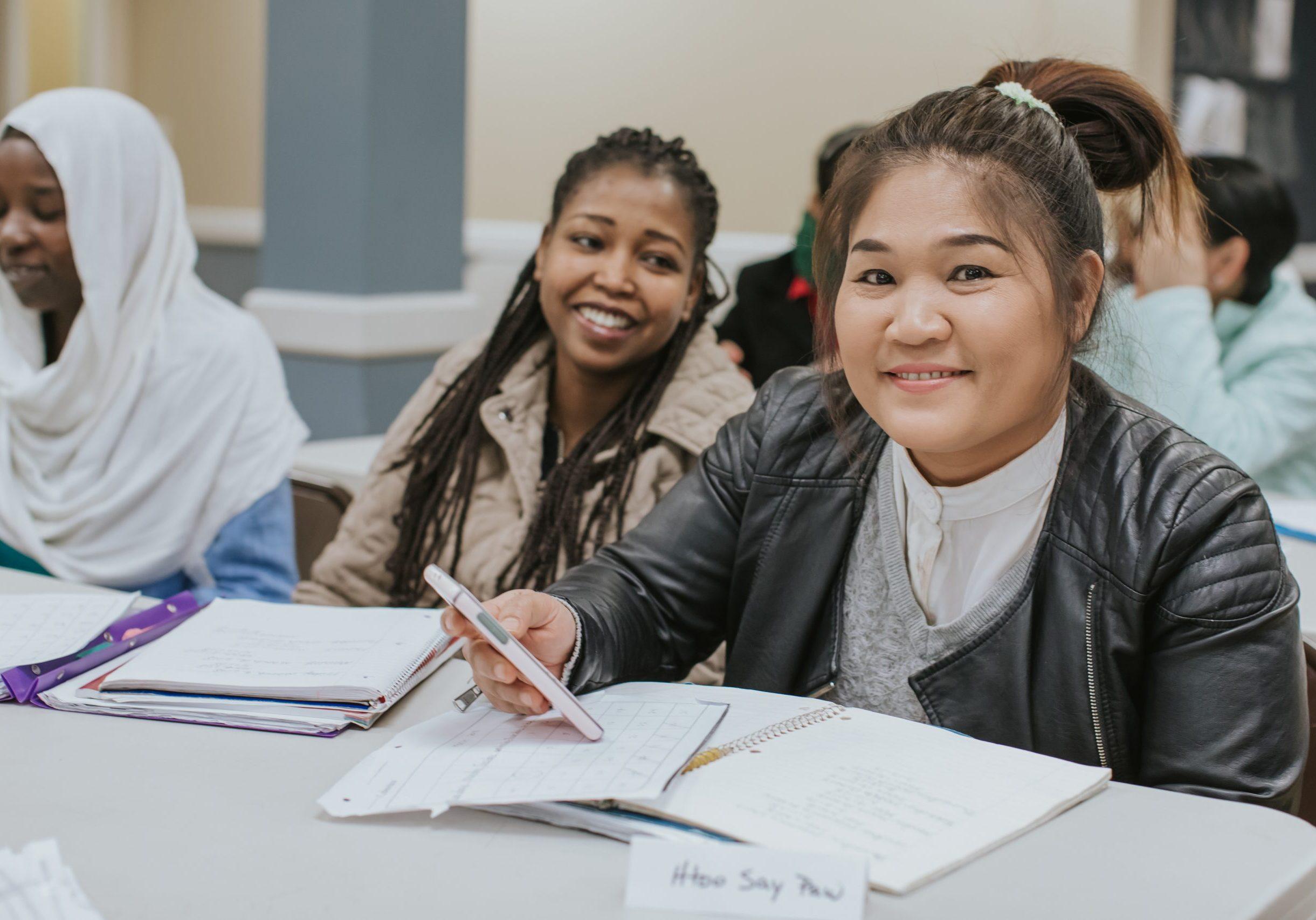 Women smiling in classroom